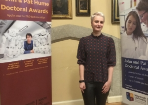 Hannah Receives the John & Pat Hume Doctoral Scholarship